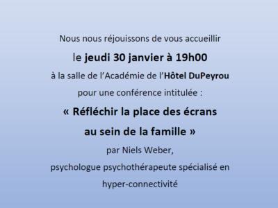 Conférence «Réfléchir la place des écrans dans les familles», Neuchâtel
