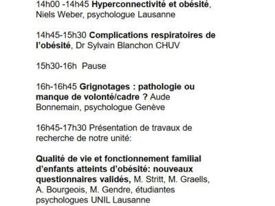 9ème Symposium de l'Unité d'endocrinologie, diabétologie et obésité pédiatrique DFME CHUV Obésité de l'enfant. Lausane